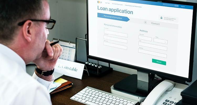 business man applying for loan online